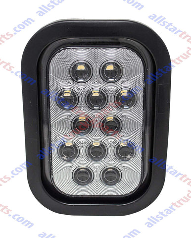 "5x3"" White Rectangle 12 LED Reverse Backup Truck Light Grommet & Pigtail - All Star Truck Parts"
