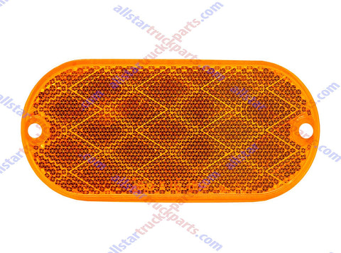 "4-3/8"" x 2"" Oval Reflectors Red/Amber Self Adhesive Or Drill Mount Quick Mount SAE 13 DO8"