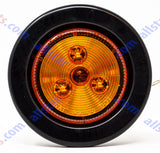 "2"" Round Side Marker Clearance Light 3 LED's Amber Grommet + Pigtail Kit"