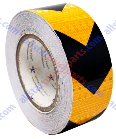 "Yellow/Black Arrow Reflective Tape, 2"" Hazard Warning Tape Waterproof - High Intensity Reflector Conspicuity Safety Tape Strong Adhesive Crystal Lattice Yellow Black Arrow 30FT, 75FT, 150FT"
