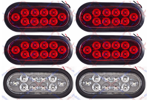 "(2) WHITE & (4) RED 6"" Oval 10 LED Stop Turn Tail & Backup Lights Truck Trailer - All Star Truck Parts"