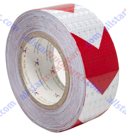 "Red/White Arrow Reflective Tape, 2"" Hazard Warning Tape Waterproof - High Intensity Reflector Conspicuity Safety Tape Strong Adhesive Crystal Lattice Red White Arrow 30FT, 75FT, 150FT"