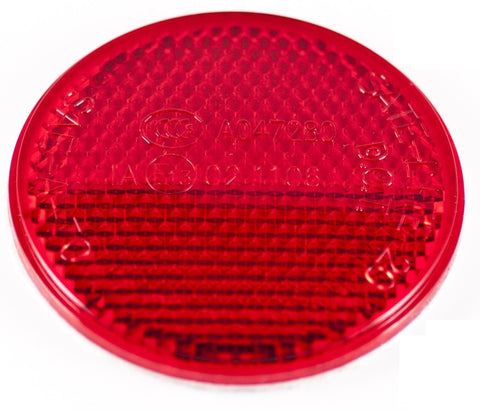 "2"" Inch Round Red Reflector Adhesive Bike, Trailer, Truck, Boat, Mailbox - Qty 1"