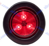 "2"" Round Side Marker Clearance Light 3 LED's Red Grommet + Pigtail Kit"