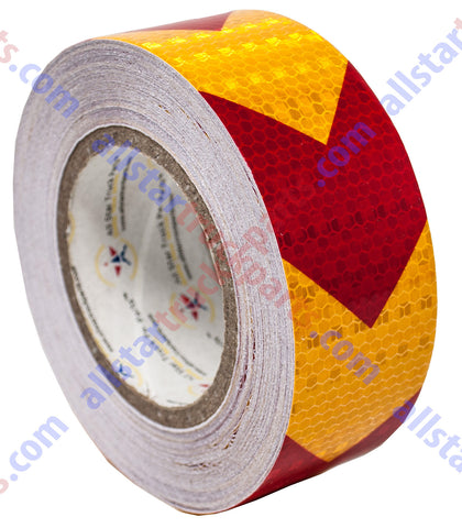 "Yellow/Red Arrow Reflective Tape, 2"" Hazard Warning Tape Waterproof - High Intensity Reflector Conspicuity Safety Tape Strong Adhesive Crystal Lattice Yellow Red Arrow 30FT, 75FT, 150FT"