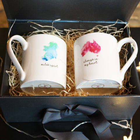 Miles Apart Giftbox Set of 2 Mugs