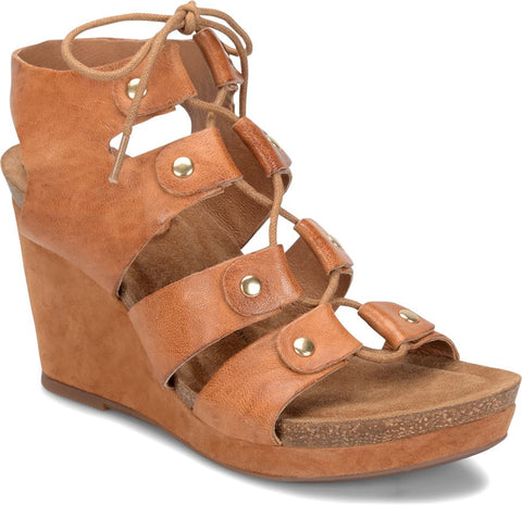 Carita lace up wedges in luggage