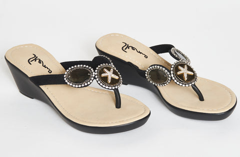 Black starfish comfort wedge sandals
