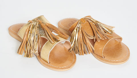 Camel w/gold tassel slide sandals