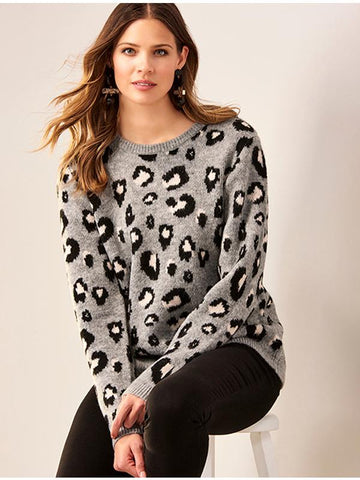 Leopard Sweater in Black/Grey