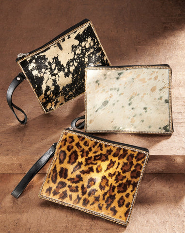 Leather Animal Print Clutches - Ivory/Gold