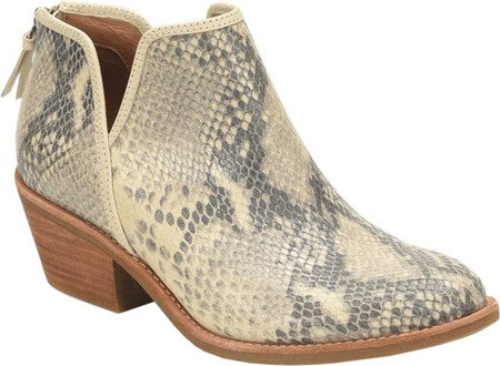 Abena cream & black snake print booties