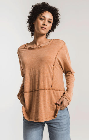 Airy slub long sleeve top in warm wood