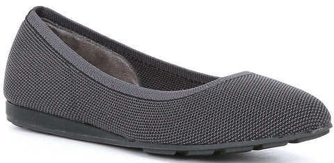 Alina sustainable mesh demi wedge flats in charcoal