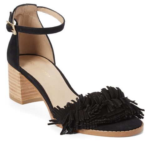 April fringe sandals in black