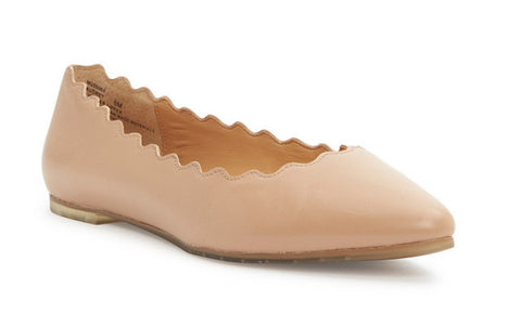 Audrey scalloped edge nude almond toe flats