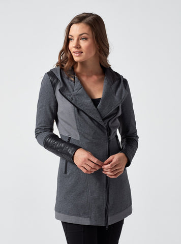 Update travel jacket in charcoal