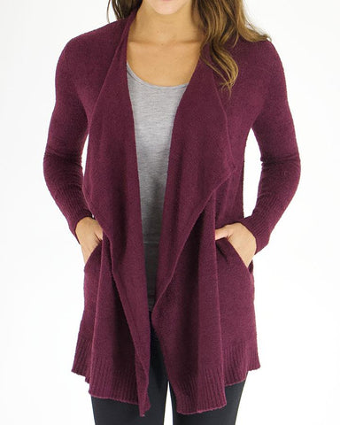 Bamboo pocket wrap sweater in wine