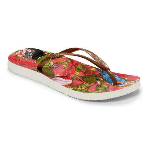 Beach Noosa red tropical bronze flip flops