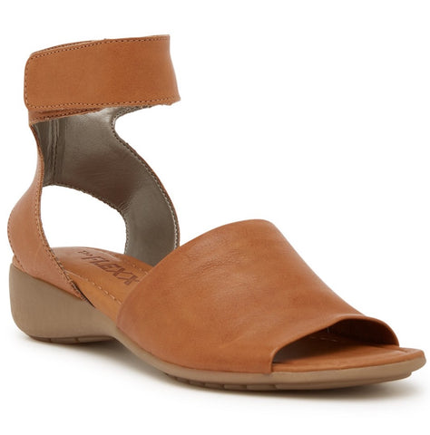 Beglad cognac leather ankle strap sandals
