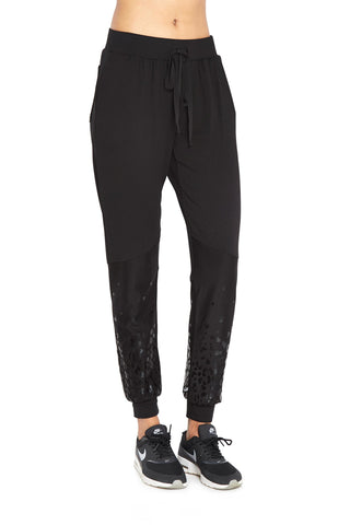 Black foil cheetah joggers