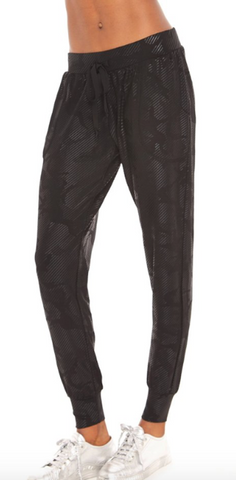Black camo foil french terry joggers