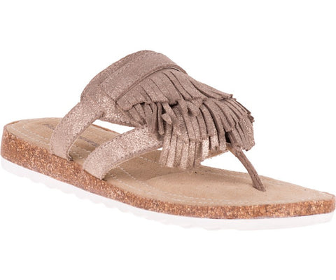 Bryson jade metallic fringe thong sandals