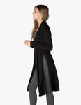 High slit long duster in black