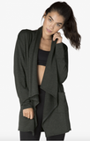 Everyday drape cardigan in charcoal gray