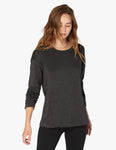 Sedona wide hem pullover in charcoal heather
