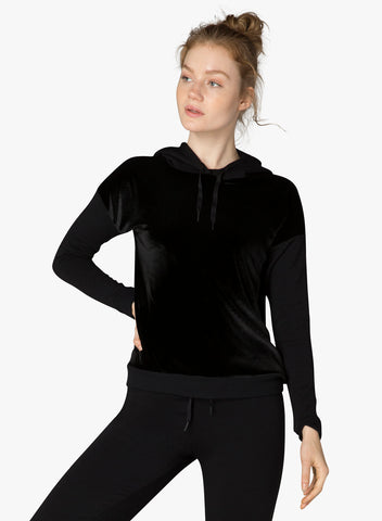 Shine on hoodie pullover in black velvet