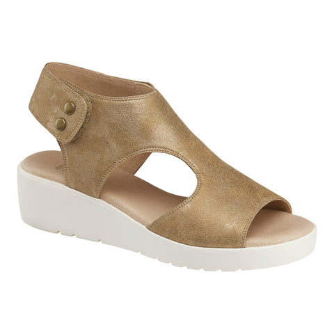 Camilla t-strap sandal in gold metallic