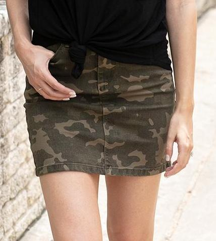 Camo denim skirt in green camo