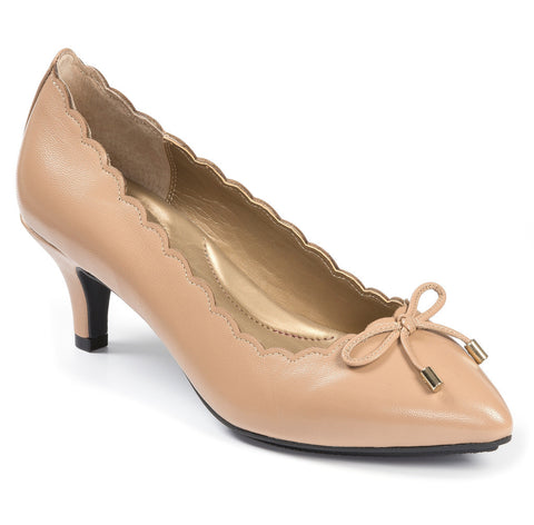 4be11b07d17 Caprice scalloped edge nude leather kitten heel