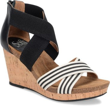 Cary black & white striped wedges