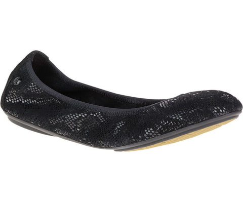 Chase suede snake print ballet flats in black metallic