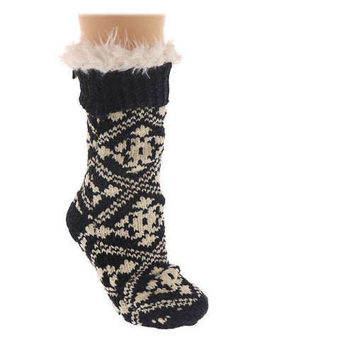 Slipper socks in black chenille
