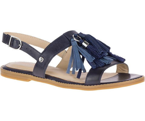 Chrissie tassel leather sandal in navy