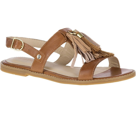 Chrissie tassel leather sandal in tan