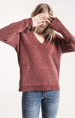 Clara chenille sweater in apple butter