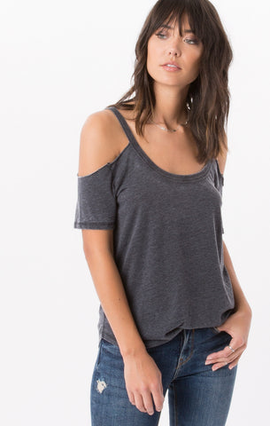 Short sleeve cold shoulder tee in charcoal
