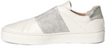 Commuter slip-on sneakers in white & silver