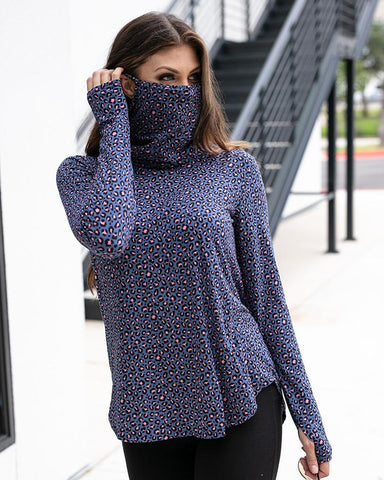 Cover up cowl neck top in steel blue leopard