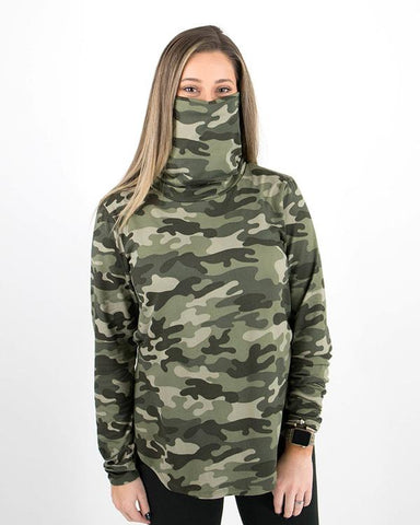 Cover up cowl neck top in sage camo