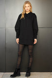 Oversized sweatshirt dress in black