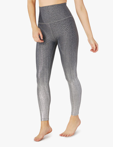 Drip drop high waisted midi leggings in black/white silver