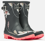 Molly mid-height rain boots in dark grey floral