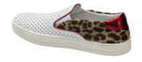 Elaine perforated slip-on sneakers in white/leopard