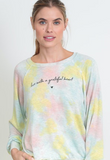 "The emerson top in cotton candy tie dye ""Live with a grateful heart"""