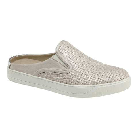 Evie woven mule sneaker in ice metallic